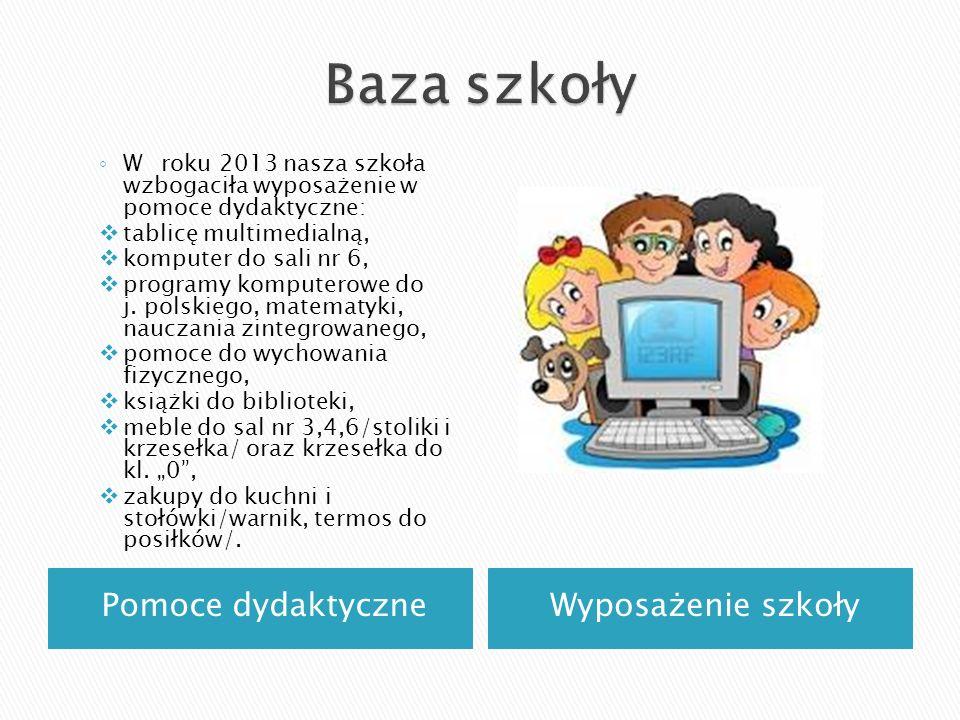 Pomoce dydaktyczneWyposażenie szkoły W roku 2013 nasza szkoła wzbogaciła wyposażenie w pomoce dydaktyczne: tablicę multimedialną, komputer do sali nr