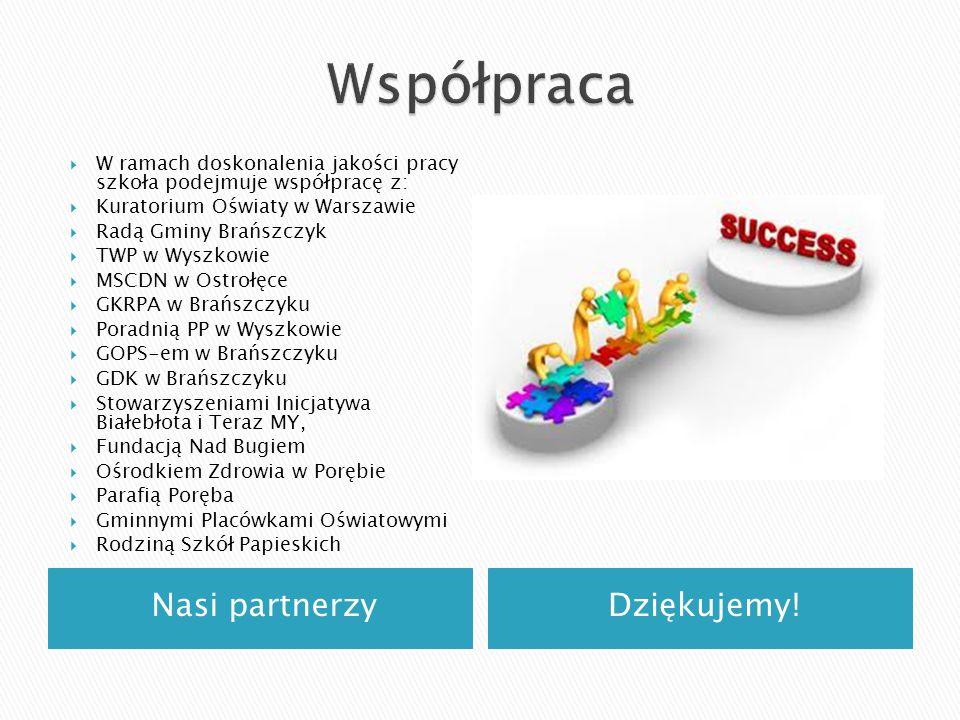 Nasi partnerzyDziękujemy! W ramach doskonalenia jakości pracy szkoła podejmuje współpracę z: Kuratorium Oświaty w Warszawie Radą Gminy Brańszczyk TWP