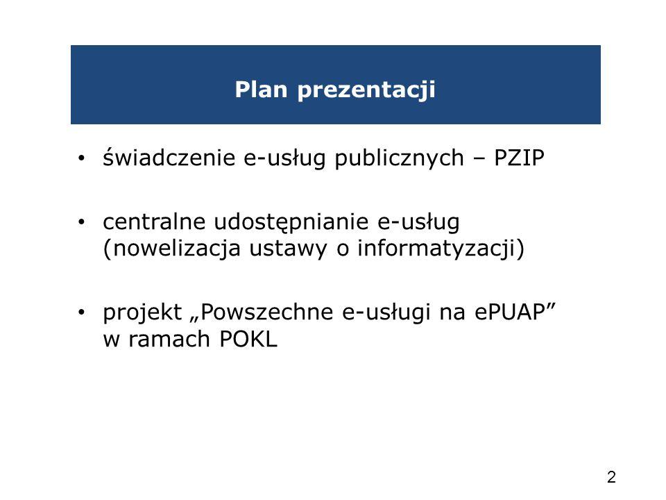Plan prezentacji świadczenie e-usług publicznych – PZIP centralne udostępnianie e-usług (nowelizacja ustawy o informatyzacji) projekt Powszechne e-usł