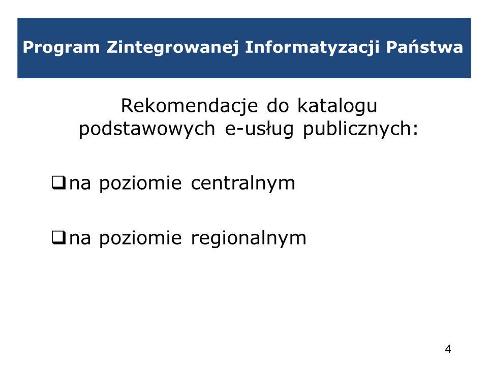 Program Zintegrowanej Informatyzacji Państwa Rekomendacje do katalogu podstawowych e-usług publicznych: na poziomie centralnym na poziomie regionalnym