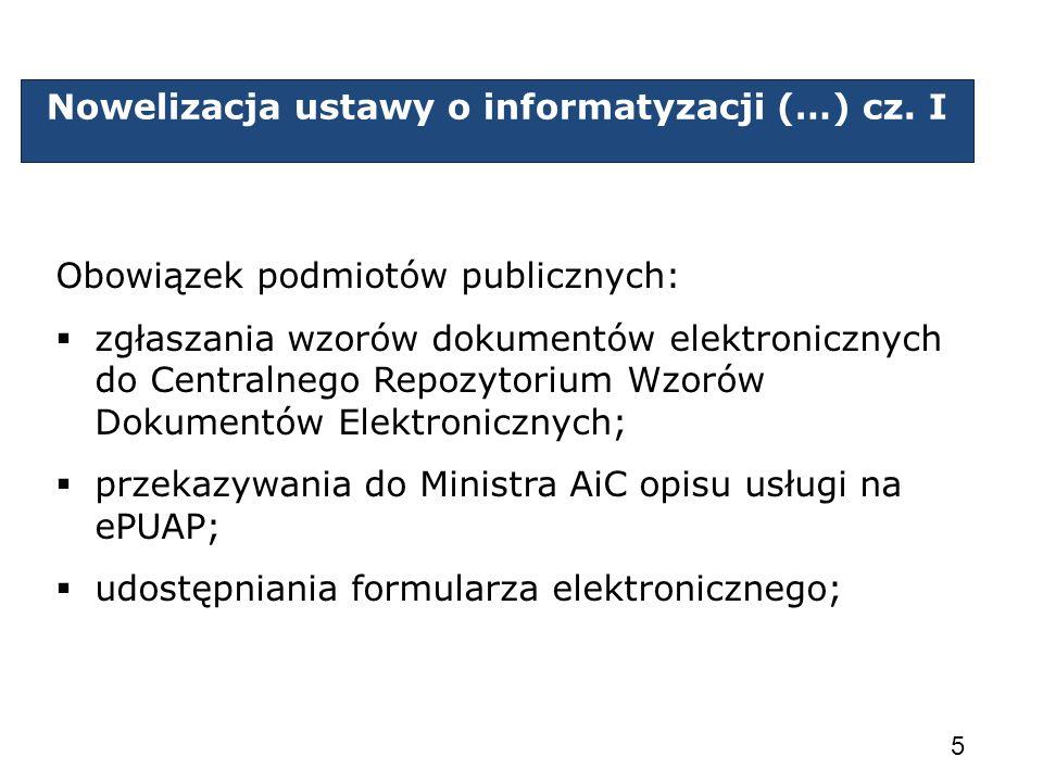 Nowelizacja ustawy o informatyzacji (…) cz. I Obowiązek podmiotów publicznych: zgłaszania wzorów dokumentów elektronicznych do Centralnego Repozytoriu