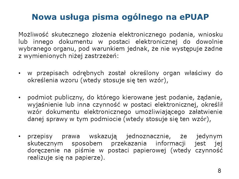 Nowa usługa pisma ogólnego na ePUAP Możliwość skutecznego złożenia elektronicznego podania, wniosku lub innego dokumentu w postaci elektronicznej do d
