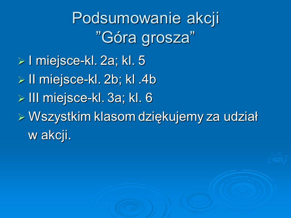 Podsumowanie akcji Góra grosza I miejsce-kl.2a; kl.