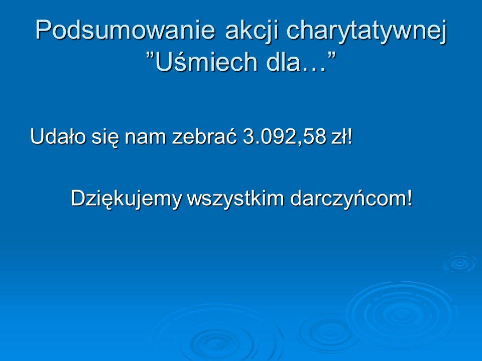 Podsumowanie akcji charytatywnej Uśmiech dla… Udało się nam zebrać 3.092,58 zł.