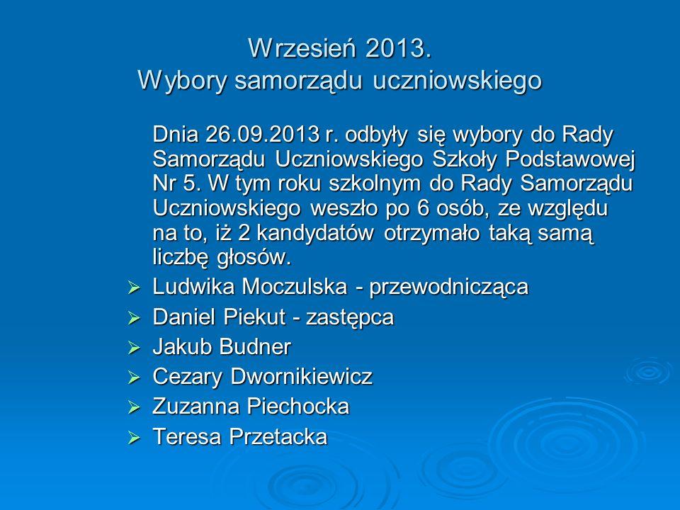 Wrzesień 2013.Wybory samorządu uczniowskiego Dnia 26.09.2013 r.