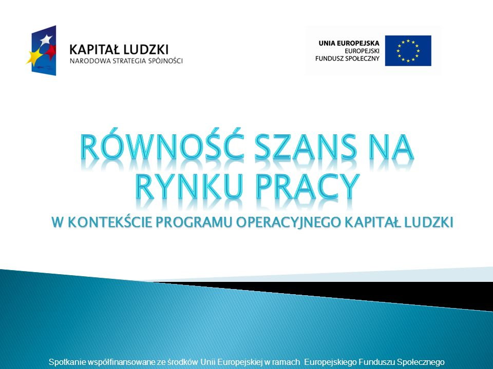 W KONTEKŚCIE PROGRAMU OPERACYJNEGO KAPITAŁ LUDZKI Spotkanie współfinansowane ze środków Unii Europejskiej w ramach Europejskiego Funduszu Społecznego