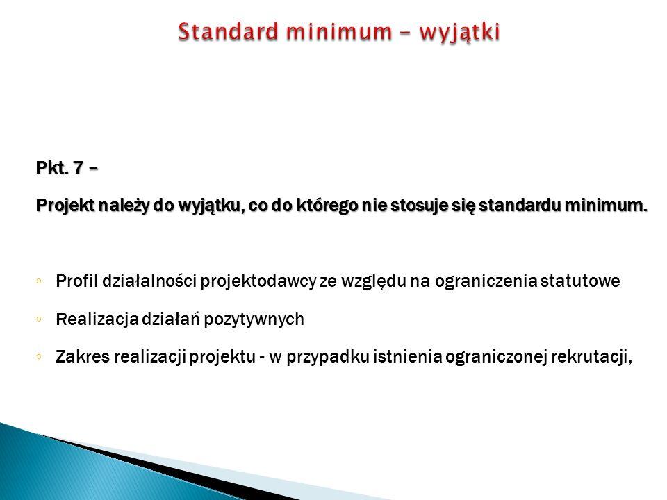 Pkt. 7 – Projekt należy do wyjątku, co do którego nie stosuje się standardu minimum.