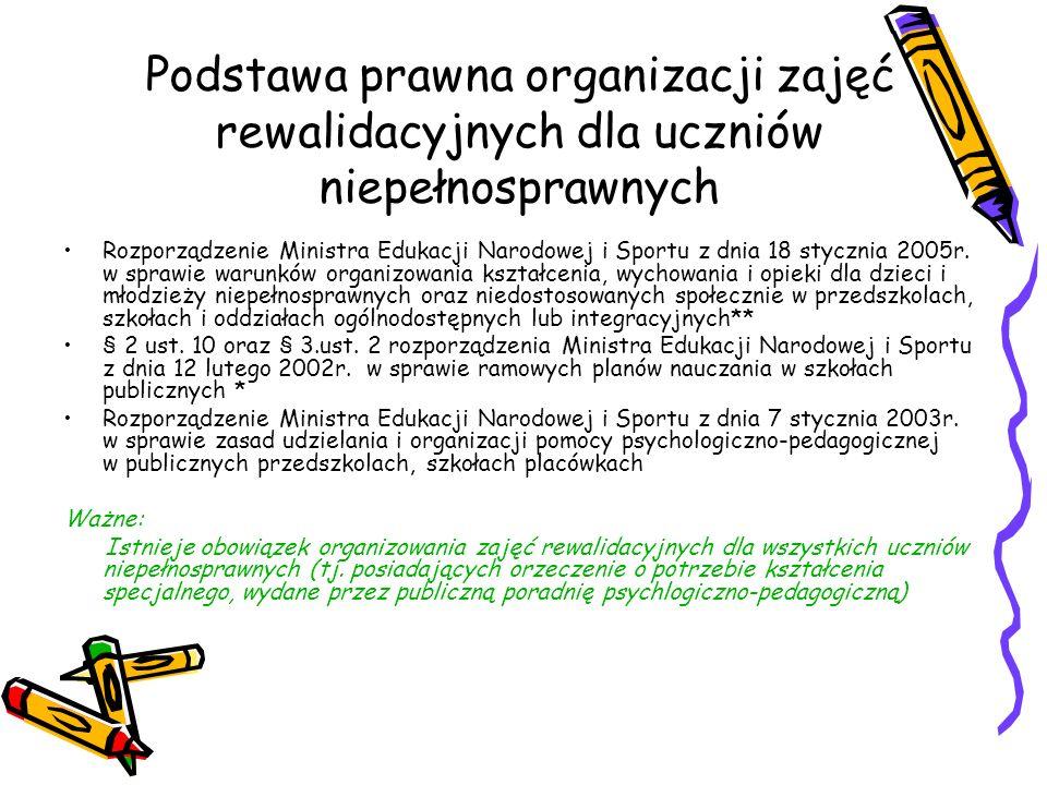 Podstawa prawna organizacji zajęć rewalidacyjnych dla uczniów niepełnosprawnych Rozporządzenie Ministra Edukacji Narodowej i Sportu z dnia 18 stycznia