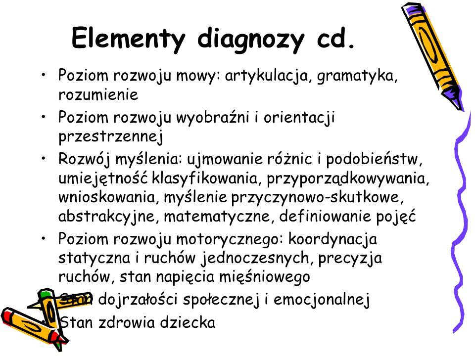 Elementy diagnozy cd. Poziom rozwoju mowy: artykulacja, gramatyka, rozumienie Poziom rozwoju wyobraźni i orientacji przestrzennej Rozwój myślenia: ujm