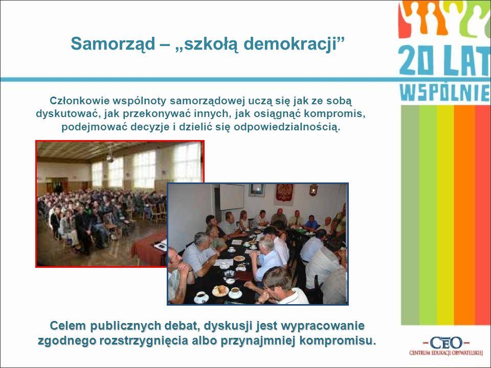 Samorząd – szkołą demokracji Członkowie wspólnoty samorządowej uczą się jak ze sobą dyskutować, jak przekonywać innych, jak osiągnąć kompromis, podejm