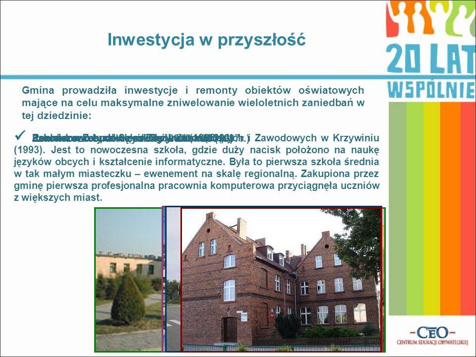 Remont szkoły w Krzywiniu (2000 – 2001r.) Zakończono budowę szkoły w Jerce (1993) Rozbudowano szkołę w Bieżyniu (1995r.) Zakończono budowę szkoły w Lu