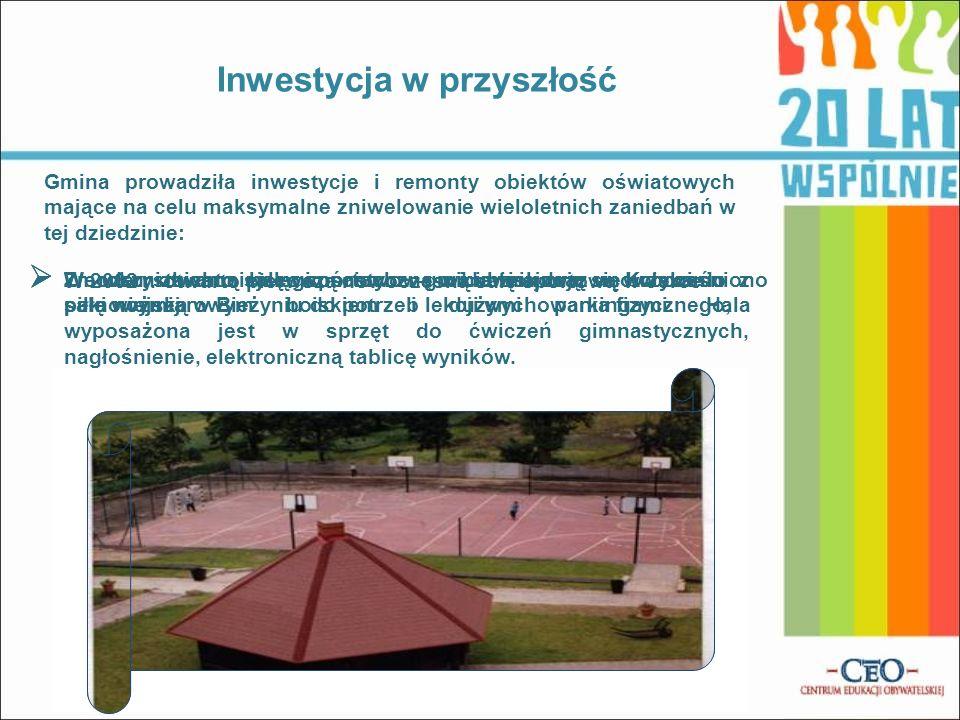 W 2002 r. otwarto pierwszą nowoczesną salę sportową w Jerce Zmodernizowaną salę gimnastyczną w Lubiniu oraz unowocześniono salę wiejską w Bieżyniu do