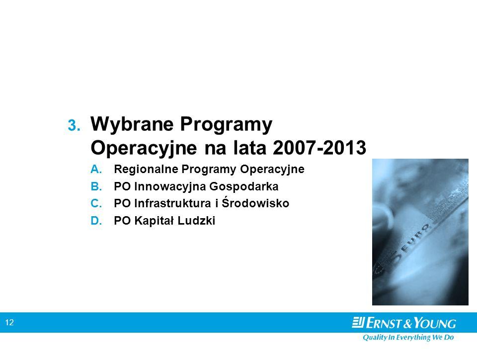 12 3. Wybrane Programy Operacyjne na lata 2007-2013 A. Regionalne Programy Operacyjne B. PO Innowacyjna Gospodarka C. PO Infrastruktura i Środowisko D