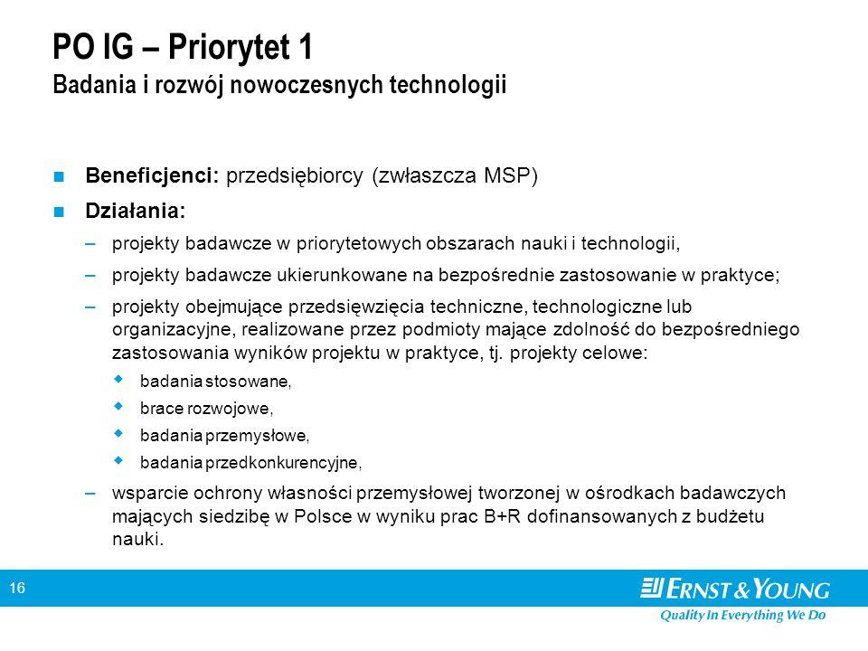 16 PO IG – Priorytet 1 Badania i rozwój nowoczesnych technologii Beneficjenci: przedsiębiorcy (zwłaszcza MSP) Działania: –projekty badawcze w prioryte