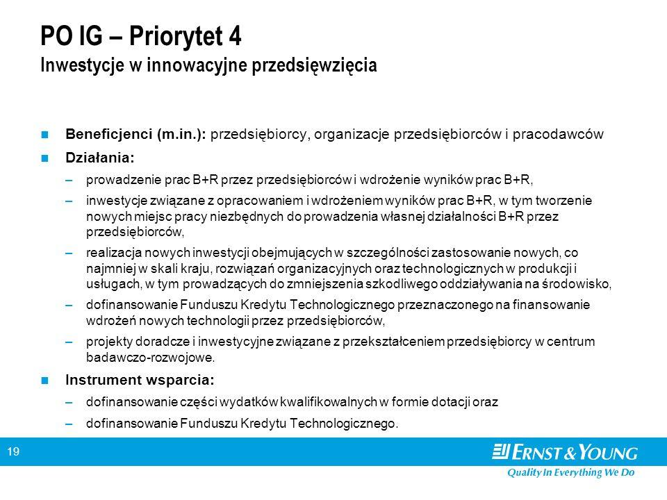19 PO IG – Priorytet 4 Inwestycje w innowacyjne przedsięwzięcia Beneficjenci (m.in.): przedsiębiorcy, organizacje przedsiębiorców i pracodawców Działa