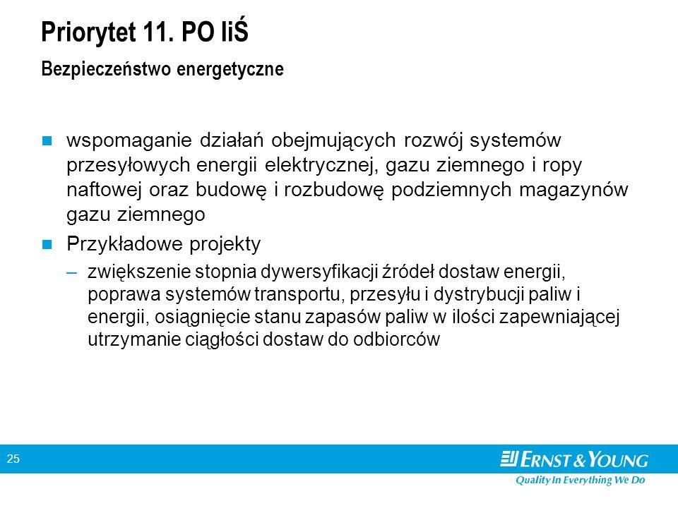 25 Priorytet 11. PO IiŚ Bezpieczeństwo energetyczne wspomaganie działań obejmujących rozwój systemów przesyłowych energii elektrycznej, gazu ziemnego