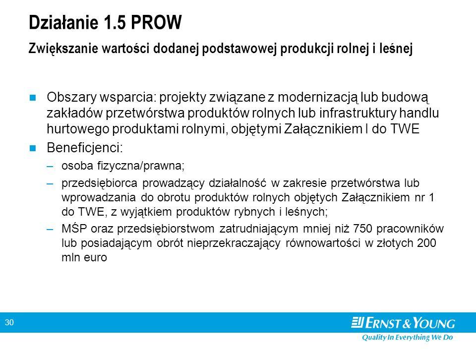 30 Działanie 1.5 PROW Zwiększanie wartości dodanej podstawowej produkcji rolnej i leśnej Obszary wsparcia: projekty związane z modernizacją lub budową