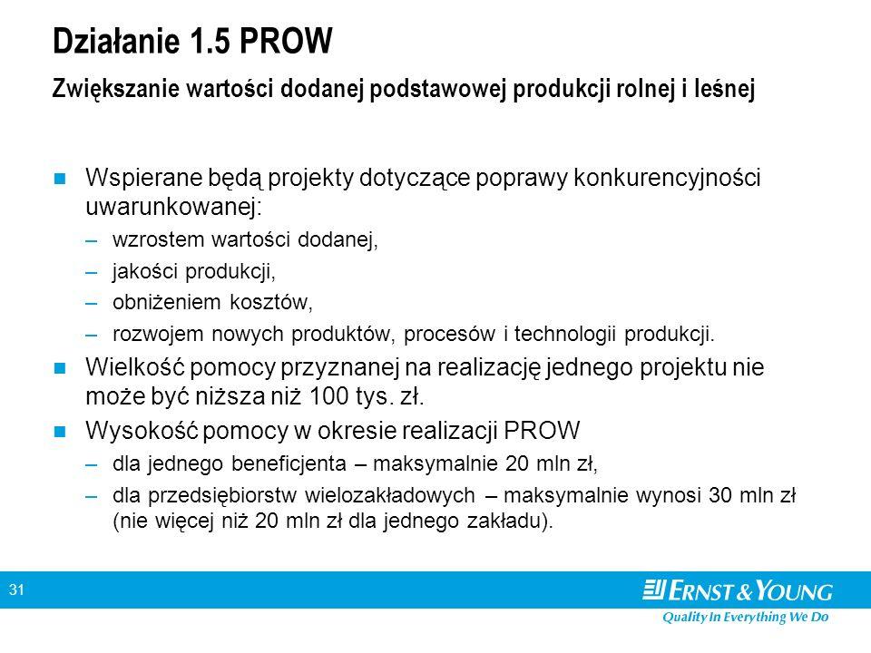 31 Działanie 1.5 PROW Zwiększanie wartości dodanej podstawowej produkcji rolnej i leśnej Wspierane będą projekty dotyczące poprawy konkurencyjności uw