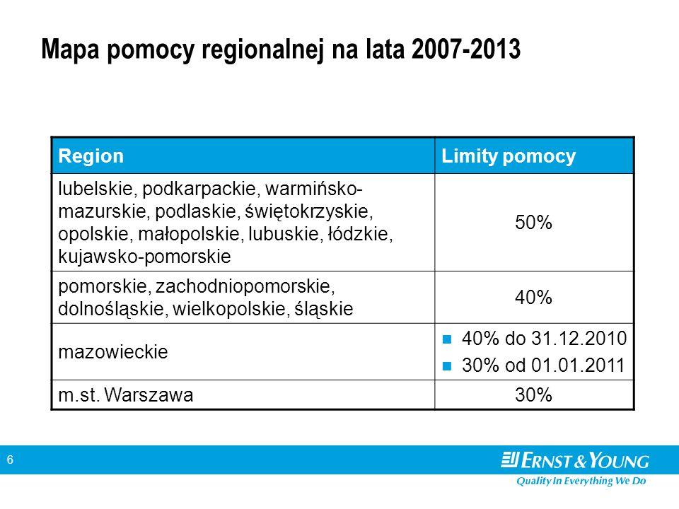 6 Mapa pomocy regionalnej na lata 2007-2013 RegionLimity pomocy lubelskie, podkarpackie, warmińsko- mazurskie, podlaskie, świętokrzyskie, opolskie, ma