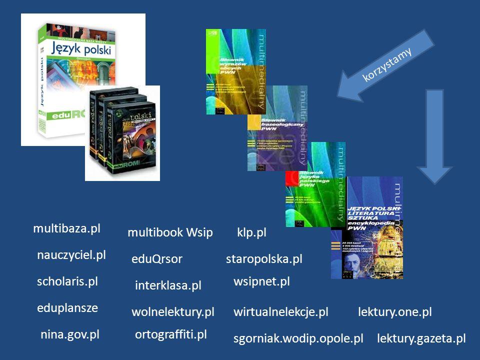 multibaza.pl nauczyciel.pl scholaris.pl eduplansze multibook Wsip eduQrsor interklasa.pl wolnelektury.pl nina.gov.plortograffiti.pl wsipnet.pl wirtual