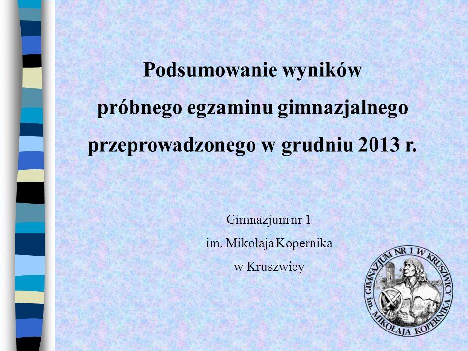 Podsumowanie wyników próbnego egzaminu gimnazjalnego przeprowadzonego w grudniu 2013 r. Gimnazjum nr 1 im. Mikołaja Kopernika w Kruszwicy