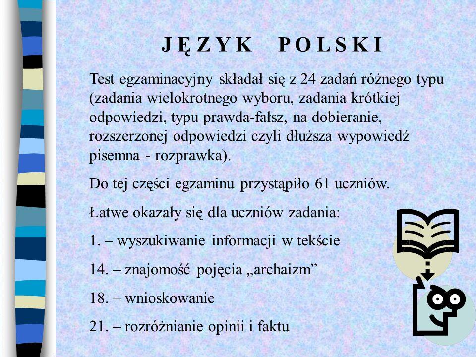 J Ę Z Y K P O L S K I Test egzaminacyjny składał się z 24 zadań różnego typu (zadania wielokrotnego wyboru, zadania krótkiej odpowiedzi, typu prawda-f