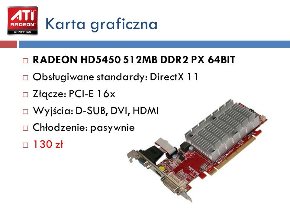 Napęd optyczny: NAGRYWARKA DVD - SONY DW-G120A Parametry techniczne nagrywarki: Prędkość zapisu CDR/CDRW/odczytu 48x24x48 Prędkość odczytu DVD x16 Prędkość zapisu DVD-RAM x5 Prędkość zapisu DVD-R x16 Prędkość zapisu DVD-RW x6 Prędkość zapisu DVD-R Double Layer x4 Prędkość zapisu DVD+R x16 Prędkość zapisu DVD+RW x8 Prędkość zapisu DVD+R Double Layer x8 Złącze: ATA 90 zł