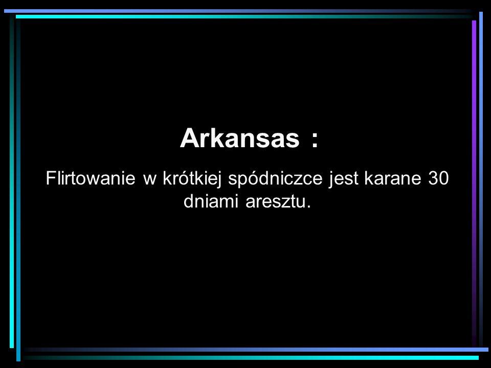 Arkansas : Flirtowanie w krótkiej spódniczce jest karane 30 dniami aresztu.