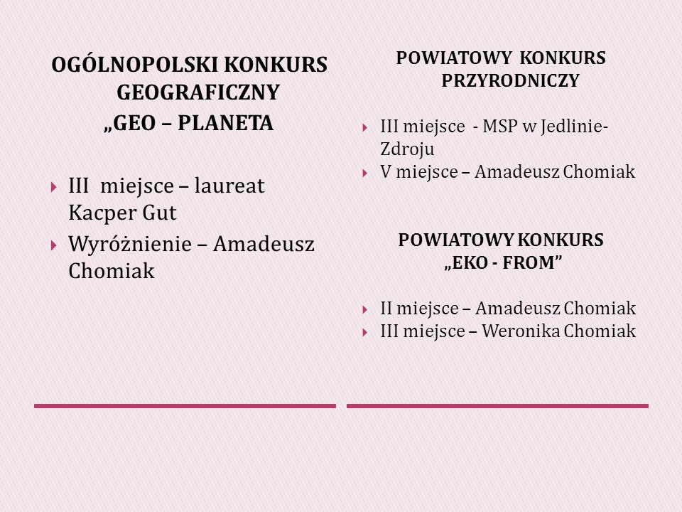 OGÓLNOPOLSKI KONKURS GEOGRAFICZNY GEO – PLANETA III miejsce – laureat Kacper Gut Wyróżnienie – Amadeusz Chomiak POWIATOWY KONKURS PRZYRODNICZY III miejsce - MSP w Jedlinie- Zdroju V miejsce – Amadeusz Chomiak POWIATOWY KONKURS EKO - FROM II miejsce – Amadeusz Chomiak III miejsce – Weronika Chomiak