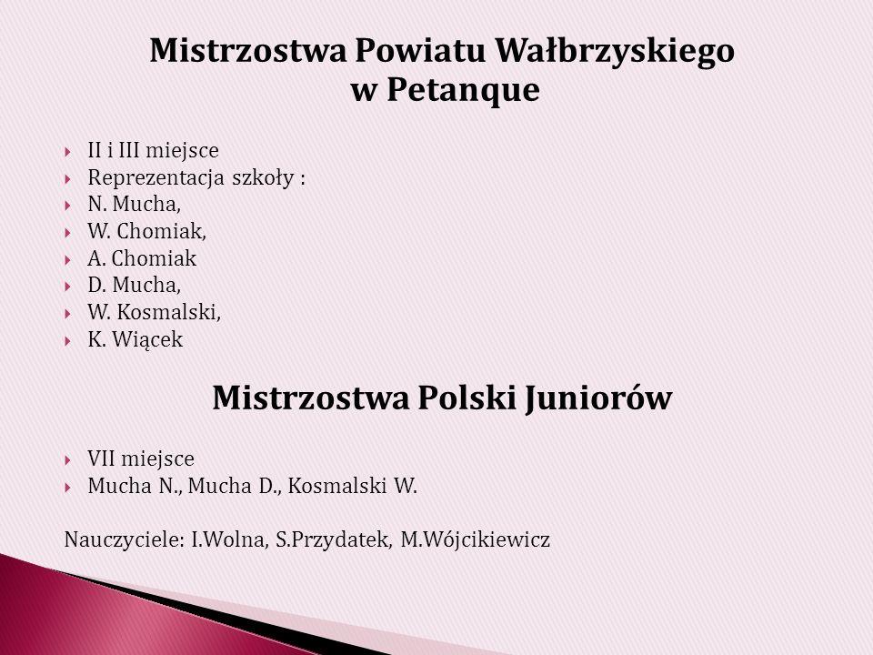 Mistrzostwa Powiatu Wałbrzyskiego w Petanque II i III miejsce Reprezentacja szkoły : N.