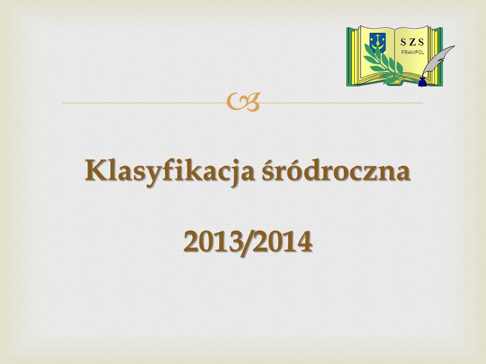 Klasyfikacja śródroczna 2013/2014 S Z S FRAMPOL