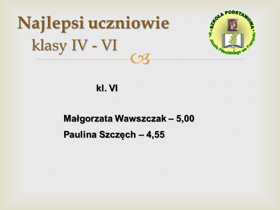 Najlepsi uczniowie klasy IV - VI Najlepsi uczniowie klasy IV - VI kl. VI kl. VI Małgorzata Wawszczak – 5,00 Paulina Szczęch – 4,55