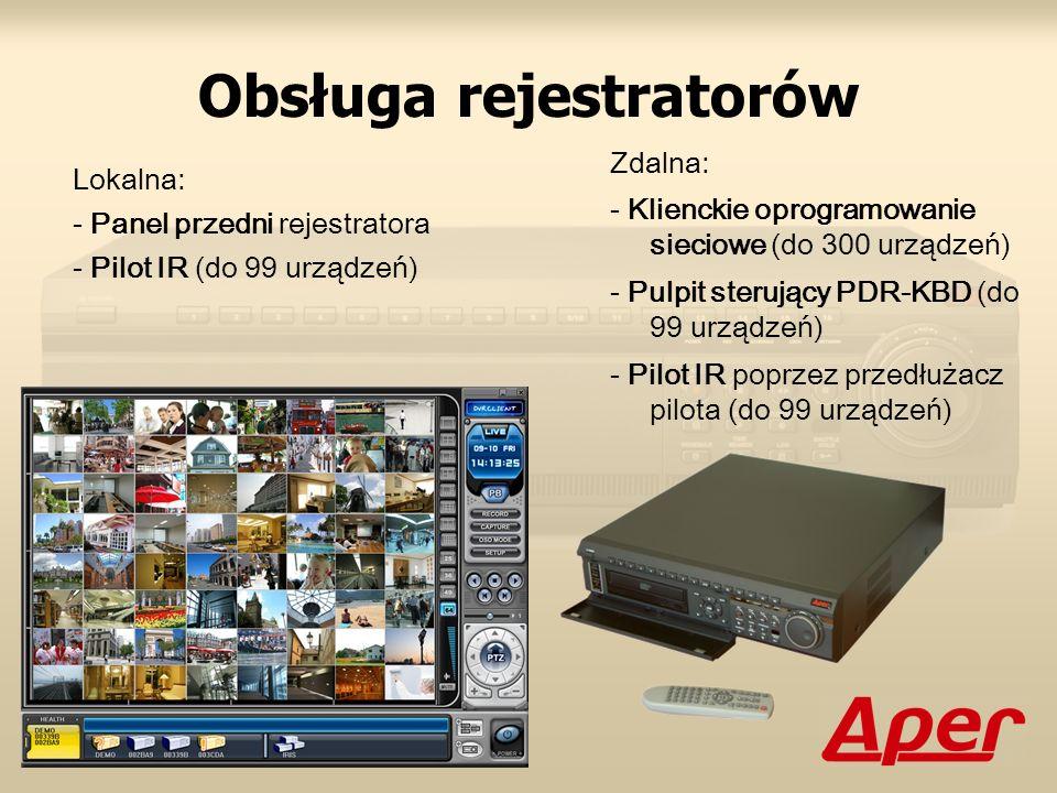 Obsługa rejestratorów Lokalna: - Panel przedni rejestratora - Pilot IR (do 99 urządzeń) Zdalna: - Klienckie oprogramowanie sieciowe (do 300 urządzeń)
