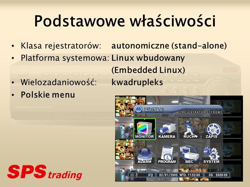 Podstawowe właściwości Klasa rejestratorów:autonomiczne (stand-alone) Platforma systemowa:Linux wbudowany (Embedded Linux) Wielozadaniowość:kwadruplek