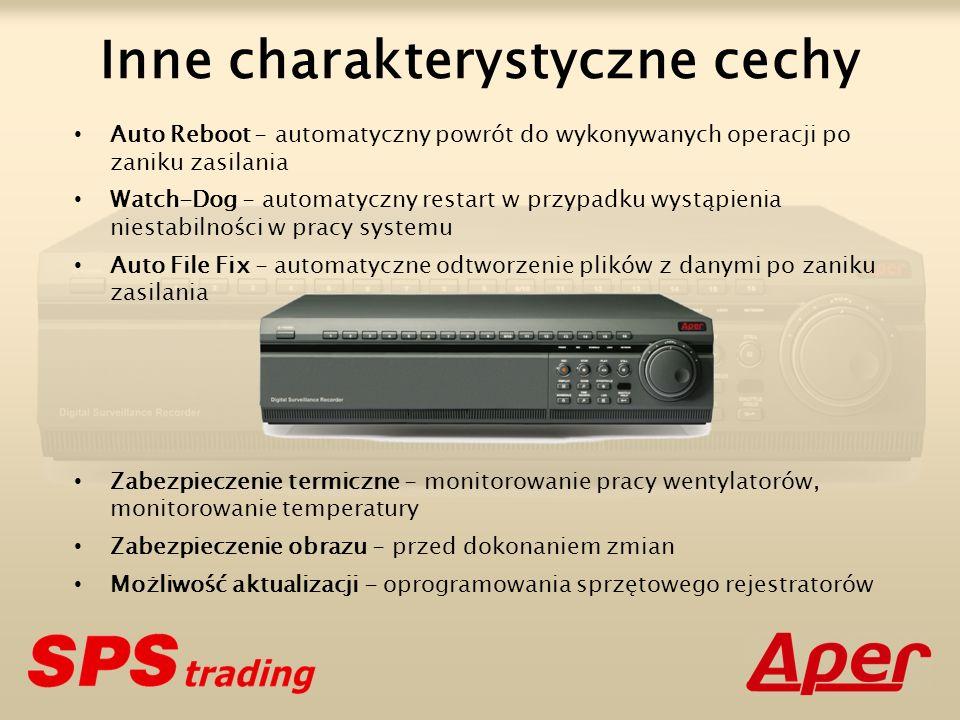 Seria PDR-M5000 Metoda kompresji: MPEG-4 Rozdzielczość telewizyjna: 420 TVL Rozdzielczości cyfrowe: 4CIF (FRAME)720 x 576 pikseli 2CIF (FIELD)720 x 288 pikseli CIF (QUAD)360 x 288 pikseli Obszar pamięci dyskowej: maks.