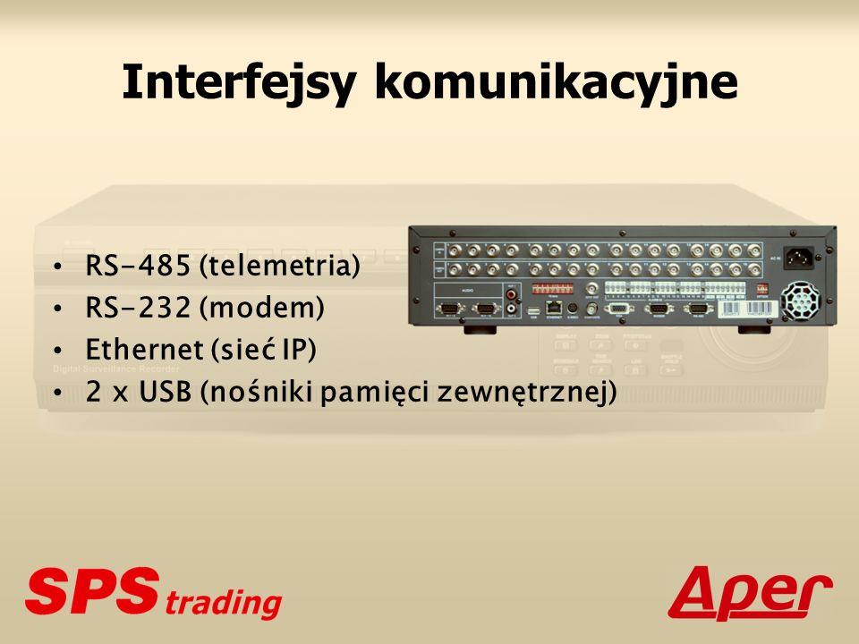 Interfejsy komunikacyjne RS-485 (telemetria) RS-232 (modem) Ethernet (sieć IP) 2 x USB (nośniki pamięci zewnętrznej)