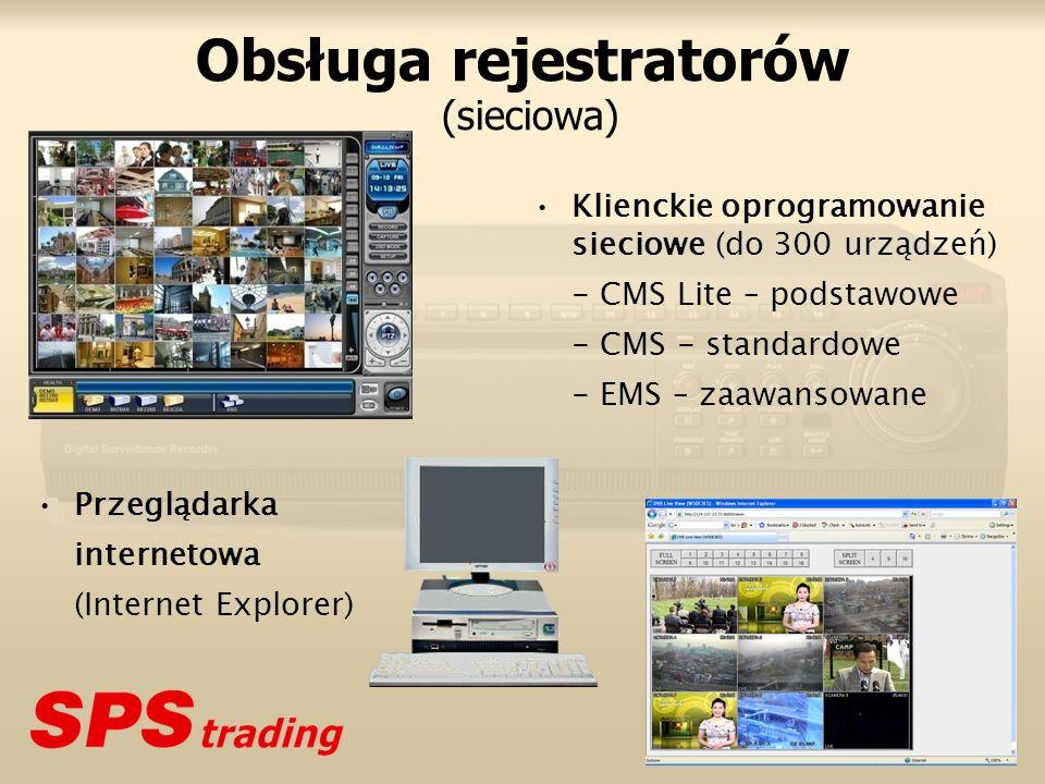 Obsługa rejestratorów (sieciowa) Klienckie oprogramowanie sieciowe (do 300 urządzeń) - CMS Lite – podstawowe - CMS - standardowe - EMS – zaawansowane