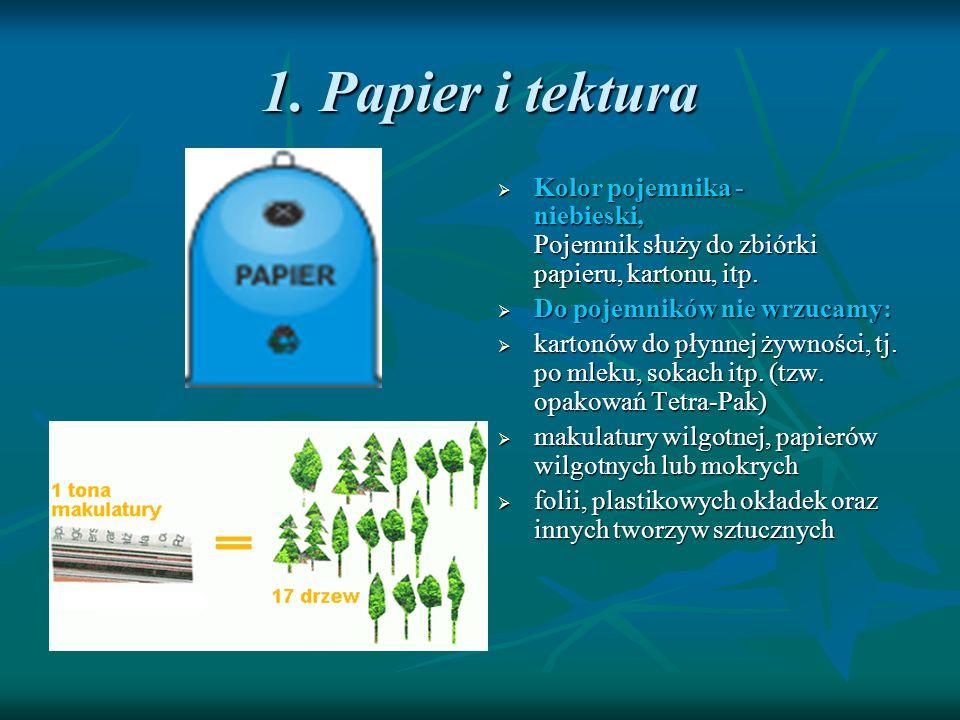 1. Papier i tektura Kolor pojemnika - niebieski, Pojemnik służy do zbiórki papieru, kartonu, itp. Kolor pojemnika - niebieski, Pojemnik służy do zbiór