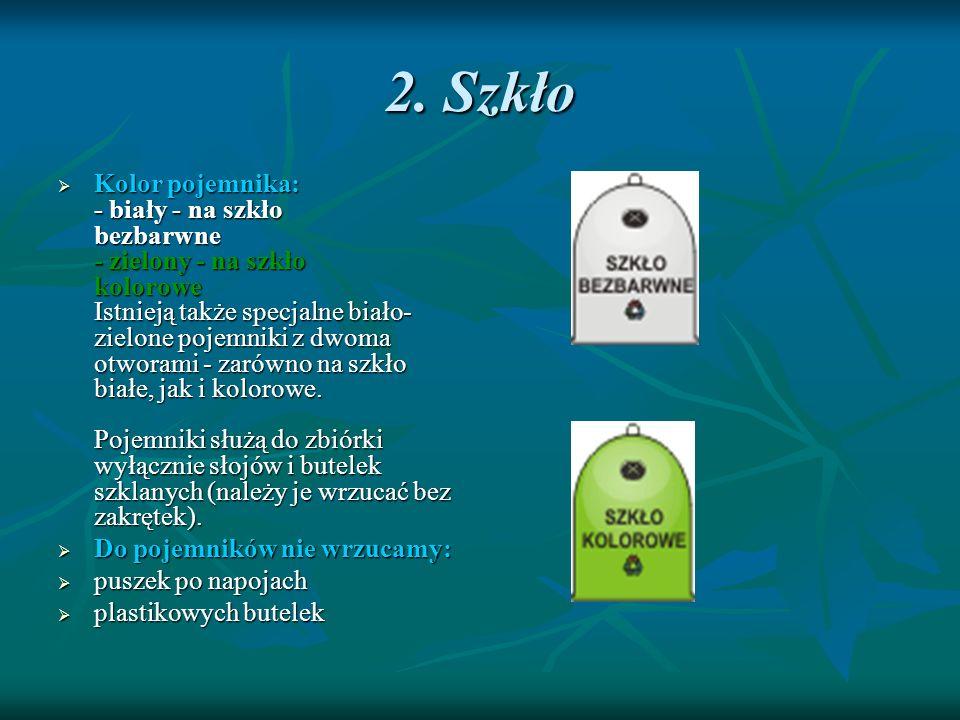 2. Szkło Kolor pojemnika: - biały - na szkło bezbarwne - zielony - na szkło kolorowe Istnieją także specjalne biało- zielone pojemniki z dwoma otworam