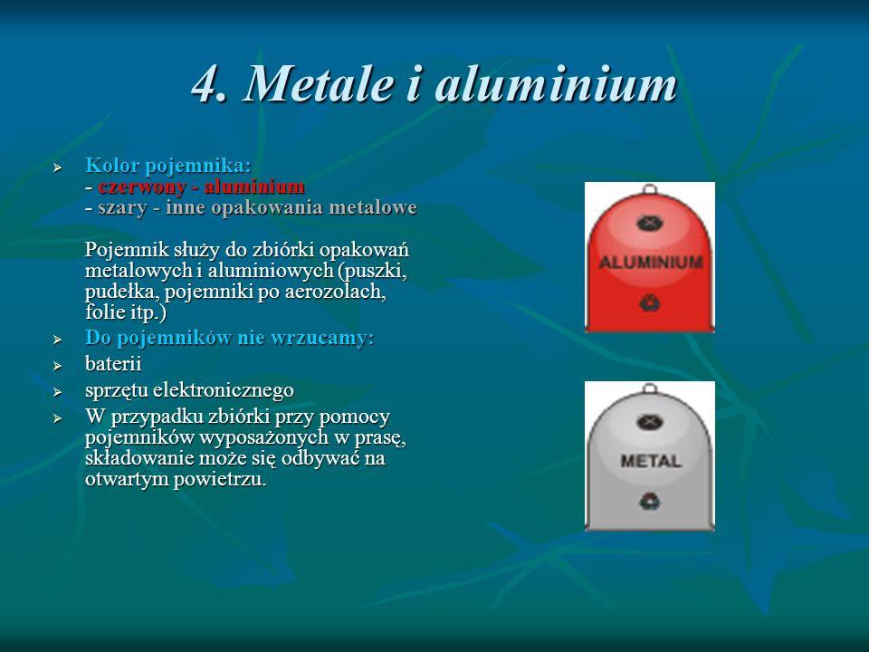 4. Metale i aluminium Kolor pojemnika: - czerwony - aluminium - szary - inne opakowania metalowe Pojemnik służy do zbiórki opakowań metalowych i alumi