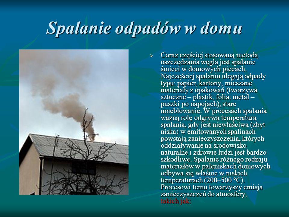 Spalanie odpadów w domu Coraz częściej stosowaną metodą oszczędzania węgla jest spalanie śmieci w domowych piecach. Najczęściej spalaniu ulegają odpad