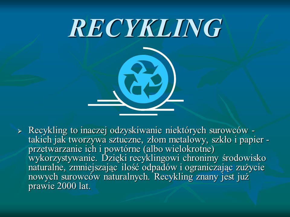RECYKLING Recykling to inaczej odzyskiwanie niektórych surowców - takich jak tworzywa sztuczne, złom metalowy, szkło i papier - przetwarzanie ich i po