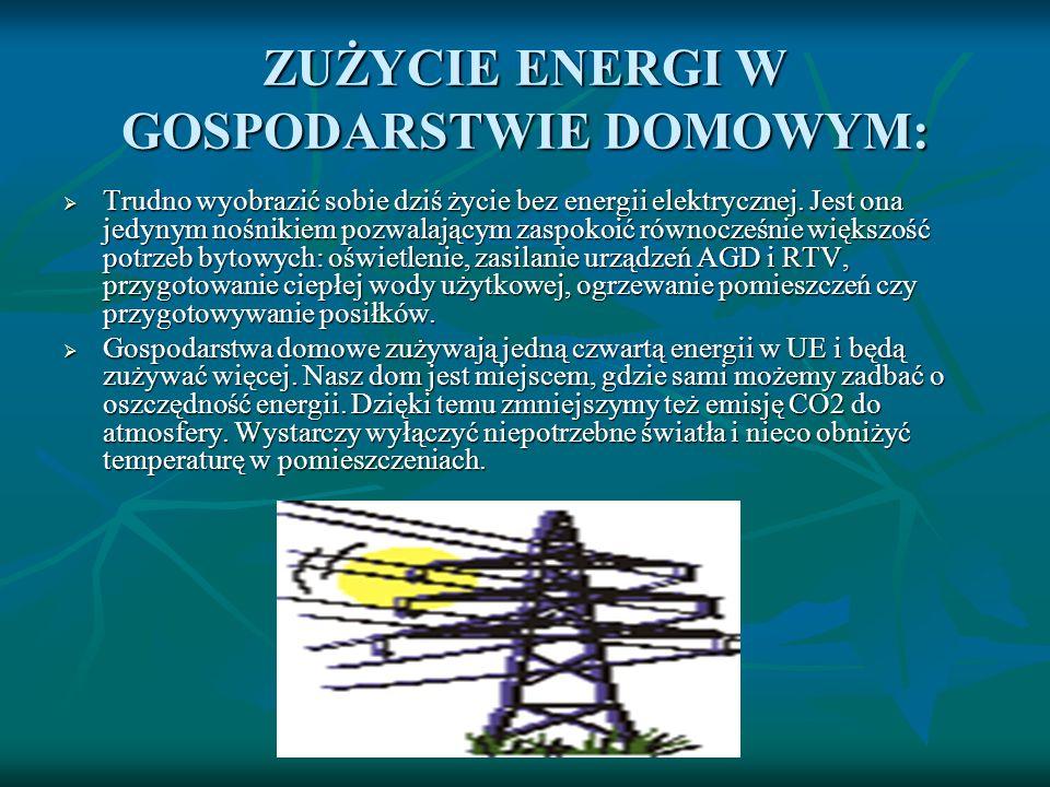 ZUŻYCIE ENERGI W GOSPODARSTWIE DOMOWYM: Trudno wyobrazić sobie dziś życie bez energii elektrycznej. Jest ona jedynym nośnikiem pozwalającym zaspokoić