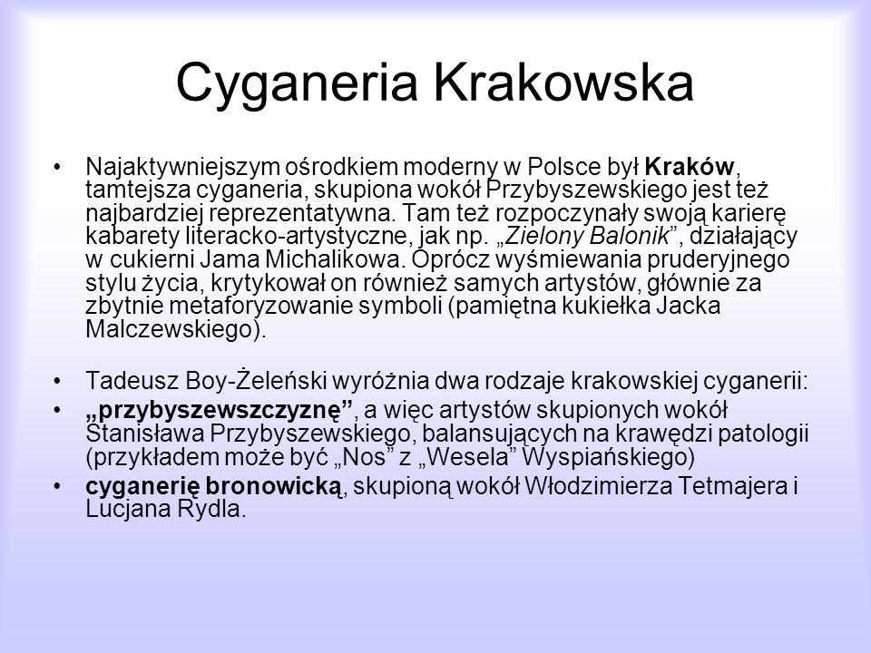 Cyganeria Krakowska Najaktywniejszym ośrodkiem moderny w Polsce był Kraków, tamtejsza cyganeria, skupiona wokół Przybyszewskiego jest też najbardziej
