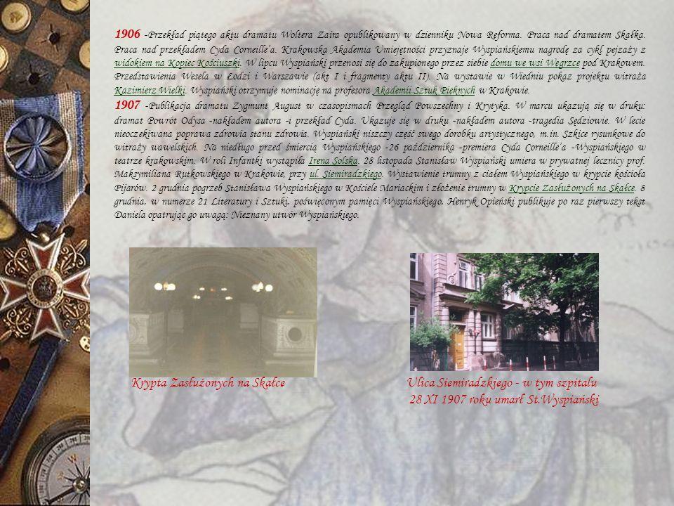 Balustrada z motywem liści kasztanowca w klatce schodowej 1905 - Zgłoszenie rezygnacji z docentury w Akademii Sztuk Pięknych w Krakowie.
