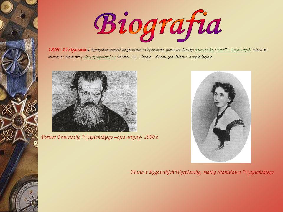 Stanisław Mateusz Ignacy Wyspiański urodził się w piątek 15 stycznia 1869 roku jako dziecko Franciszka Wyspiańskiego i Marii z Rogowskich w Krakowie.