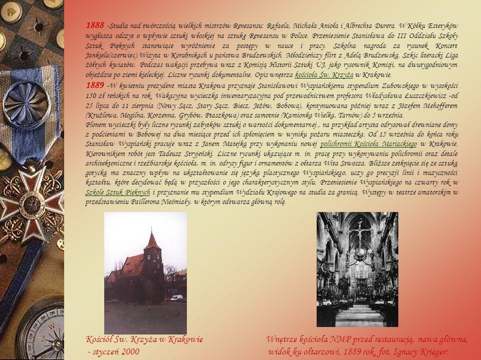 1888 -Studia nad twórczością wielkich mistrzów Renesansu: Rafaela, Michała Anioła i Albrechta Durera.