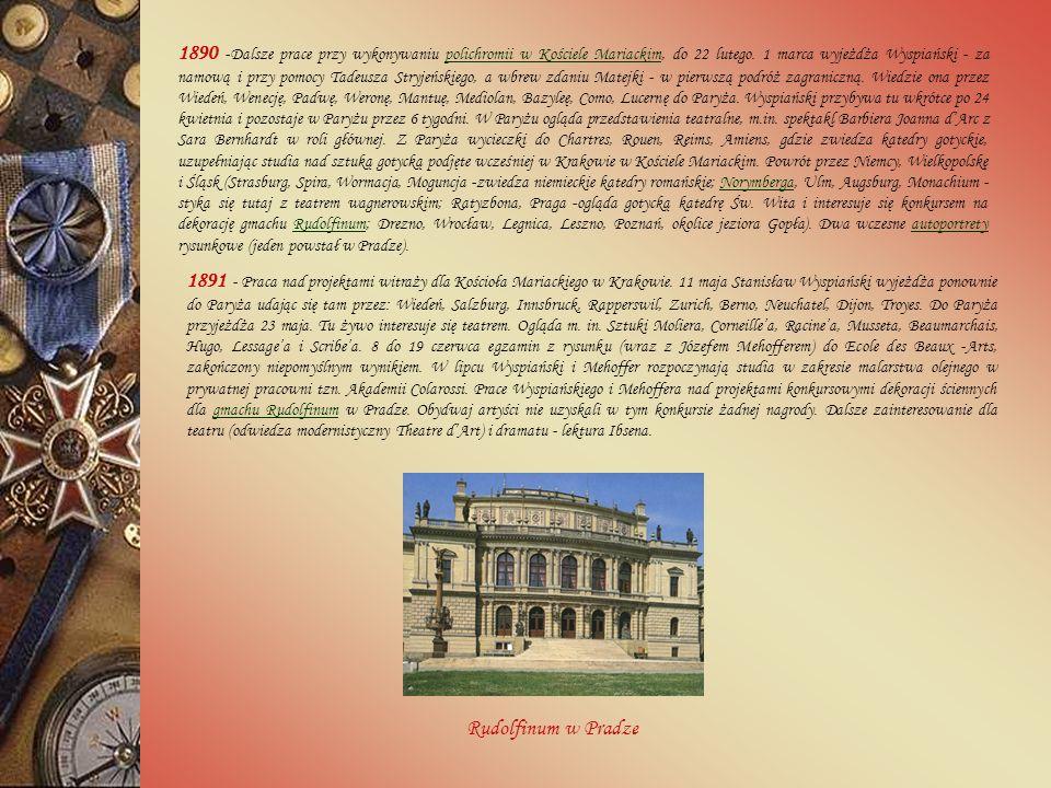 1890 -Dalsze prace przy wykonywaniu polichromii w Kościele Mariackim, do 22 lutego.