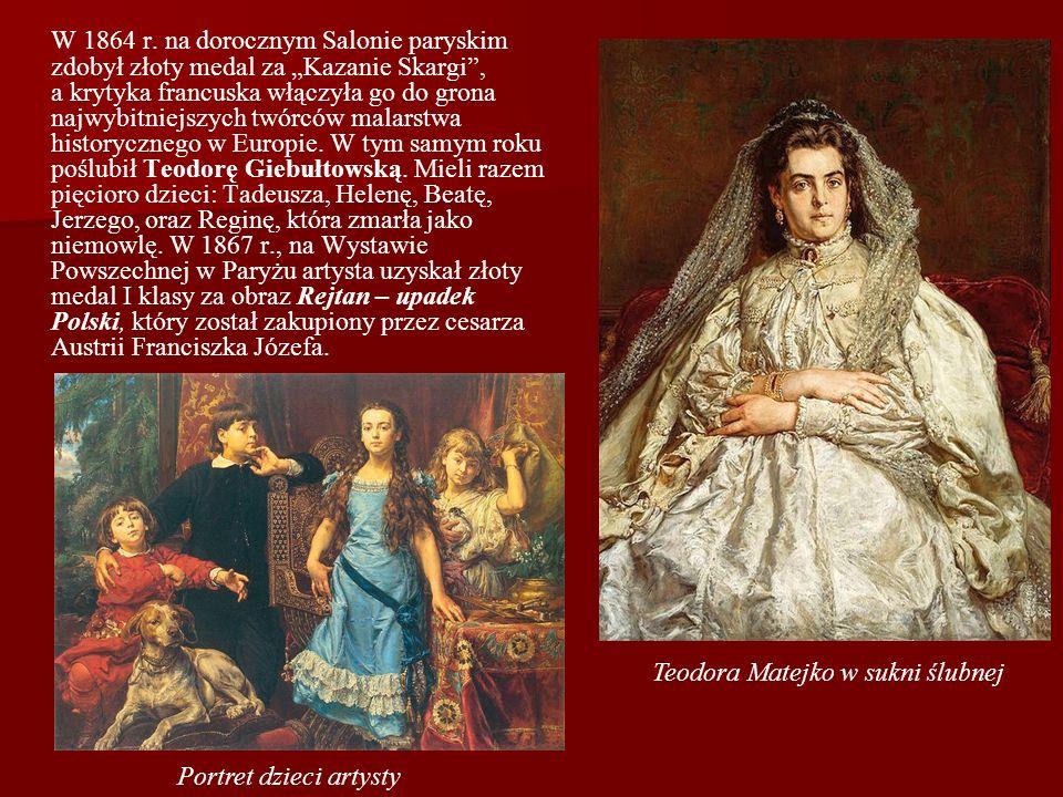 W 1864 r. na dorocznym Salonie paryskim zdobył złoty medal za Kazanie Skargi, a krytyka francuska włączyła go do grona najwybitniejszych twórców malar