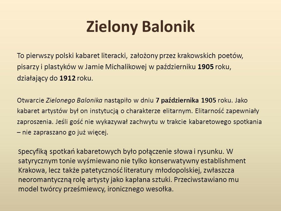 Zielony Balonik To pierwszy polski kabaret literacki, założony przez krakowskich poetów, pisarzy i plastyków w Jamie Michalikowej w październiku 1905 roku, działający do 1912 roku.